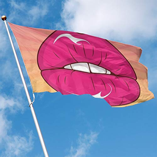 YUANSHAN Home Garden Flag Kiss Red Lip Polyester Flag Indoor/Outdoor Wall Banners Decorative Flag 3' X 5' -