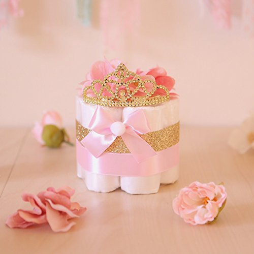 Pink & Gold Princess MINI Diaper Cake / Baby Shower Centerpieces decorations (Baby Shower Cake Decoration)