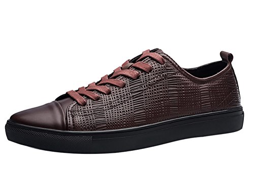 Men's Leather Deck Lace up LIVEINU Brown Shoes Sneaker nFq8gdHdwx