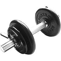 ScSPORTS® 10 kg Hantelset, 1x Kurzhantel Chrom mit Stern oder Federverschlüssen und 4 Hantelscheiben 2X 2,5kg, 2X 1,25kg