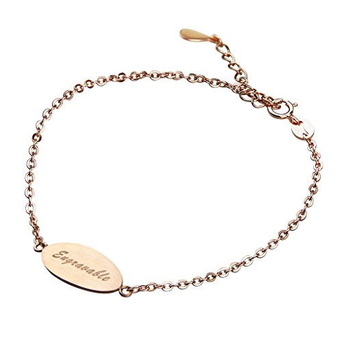Free Engraving-Personalized Custom Text Names/Word/Date Engraved 21K Rose Gold Silver Customized Plate Link Wrist Bracelet Bangle Bracelets for Sisters Friends Families Lover Couples Men (Gold Family Name Bracelet)