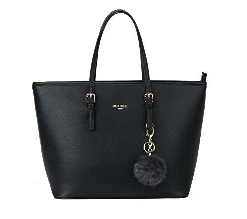 Li & hi femmes sac élégant sacs à main simples femmes couleur unie grande capacité sac à bandoulière en toile à la main avec boule de fourrure en peluche porte-clés