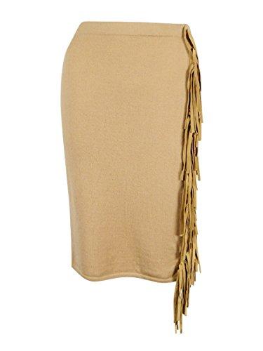 (Lauren Ralph Lauren Women's Suede Fringe Skirt (S, Tan))