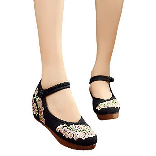Chaussure Chaussures Pékin De Noir Femmes Vieux Fleur Boucle Broderie Femme Bozevon Compensée HxdqXH