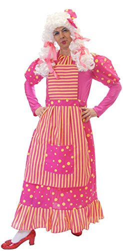 Pantomime-Ugly Sister-Dames- Dame Pink & Yellow Spot Costume & Wig - All Men's Sizes (Dame Adult Wig)