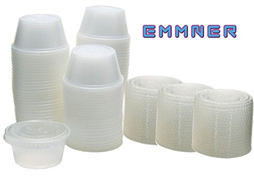 Emmner Durable Plastic Jello Shot Cups and Lids, Translucent , 1-Ounce, Package of 100