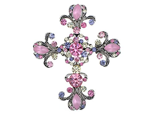 Alilang Womens Antique Inspired Silvery Tone Shine Pink Purple Rhinestones Pastel Holy Cross Brooch Pin Pendent