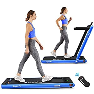 Goplus 2 in 1 Folding Treadmill, 2.25HP Under Desk Electric Treadmill, Installation-Free, with Bluetooth Speaker, Remote Control and LED Display, Walking Jogging Machine for Home/Office Use