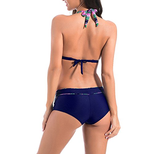 Halter Floral De Cintura Alta Del Bikini Carnaval Traje De Baño Black