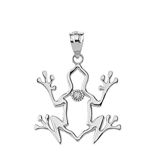 Zirconia Frog Charm - Openwork 925 Sterling Silver CZ-Accented Frog Spirit Animal Charm Pendant