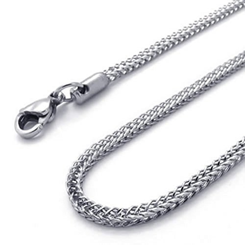 Flat Tag Pendant Link (Stainless Steel Necklaces, Men's Pendant Necklace Wonecklace Link Silver Fit 32