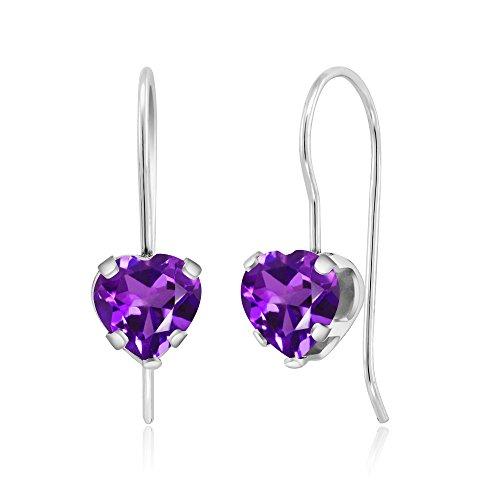 (Gem Stone King 1.48 Ct Heart Shape Purple Amethyst Sterling Silver 5-prong Dangle Earrings 6mm )