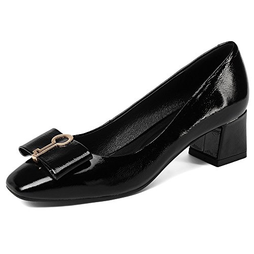 Nine Seven Genuine Leather Womens Square Toe Chunky Heel Fashionable Handmade Clubbing Pumps Shoes New Black