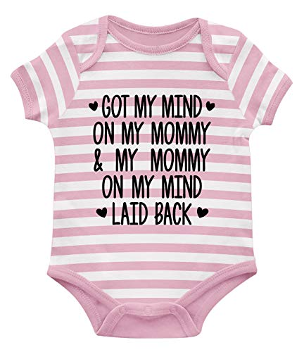 SpiritForged Apparel Got My Mind On My Mommy and My Mommy On My Mind Infant Bodysuit, Light Pink/White Stripe 6 Months