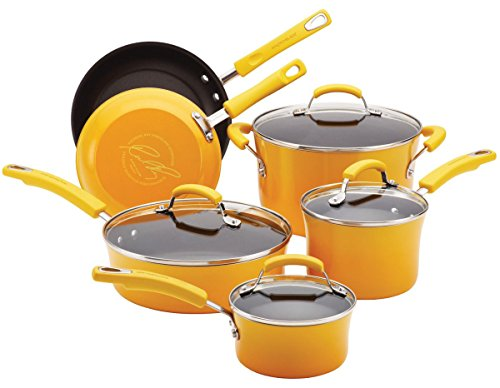 New Rachael Ray 10-Piece Kitchen NonStick Hard Enamel Cookware Set Pots