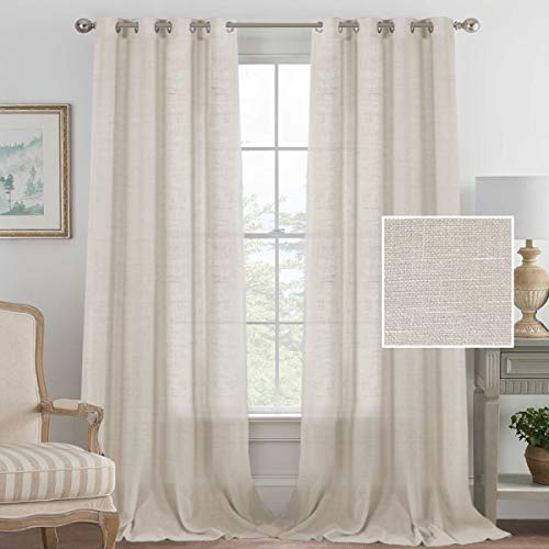Linen Curtains Sliding Door Semi Sheer Curtain Panels, American Country Style Linen Curtain Drapes for Patio Door/French Door/Living Room, Privacy Protection (52