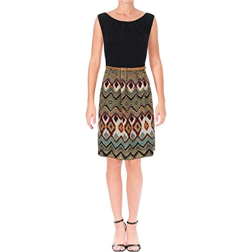 (Connected Apparel Womens Chiffon Printed Casual Dress Black 6)