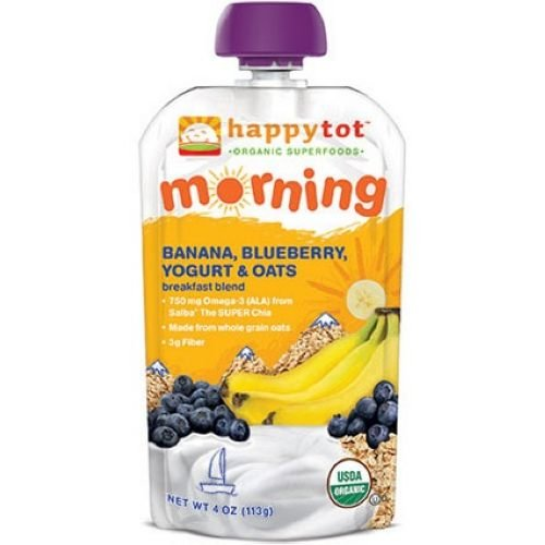 (Happy Tot Organic Banana Blueberry Yogurt and Oats Breakfast Blend, 4 Ounce - 16 per case.)