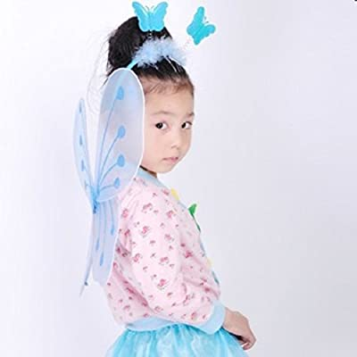 BESTOYARD 3pcs Girl's Butterfly Costume Set Butterfly Wings with Butterfly Headband and Fairy Magic Wand Kids Performance Party Costume (Blue): Toys & Games