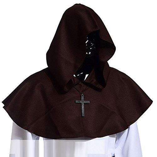 Vintage Medieval Cowl Hat Halloween Hooded Wicca Pagan Cosplay Accessory Unisex (Brown)