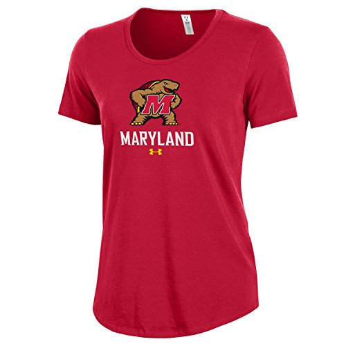 Ncaa Maryland Terrapins Womens Under Armour Short Sleeve Charged Cotton Tee  Medium  Red