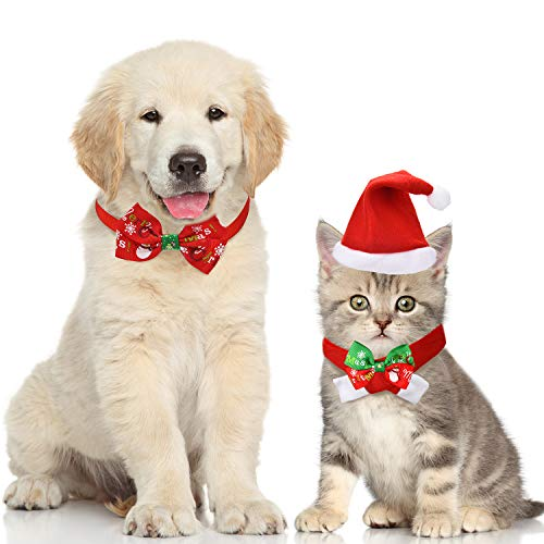 Boao 4 Pieces Christmas Pet Hat Scarf Collar Bow Tie for Small Dogs Cats Pet