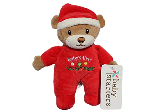 (Baby Starters Teddy Bear Santa Plush Rattle Embroider My First Christmas 9 inch)