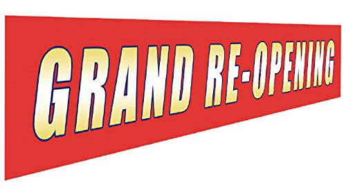 Grand RE-Opening Banner   Large Store Advertising Sign   Business Restaurant Shop Reopening Flag