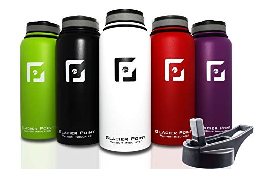 Glacier Point Vacuum Insulated Stainless Steel Water Bottle (32 OZ). Double Walled Construction. Powder Coat. (White)