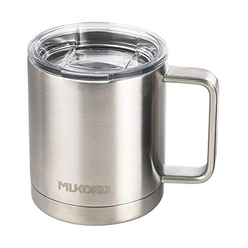 Insulated Coffee Mug 20 oz Stainless Steel Vacuum Insulated Mug With Lid and Handle(18oz After Lid is Closed) Sliver (Oz With 20 Soup Mugs Handle)