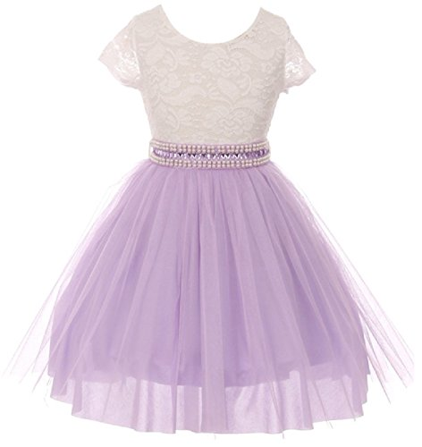 - Little Girl Cap Sleeve Lace Top Tulle Pearl Easter Graduation Flower Girl Dress (20JK45S) Lilac 6