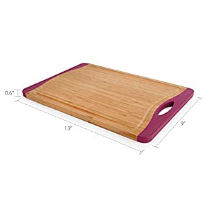 "Neoflam Flutto 15"" Bamboo Cutting Board with Non-Slip Edges and Drip Groove"