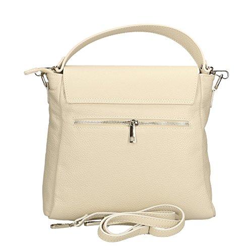 Chicca Borse Damen Handtasche aus echtem Leder made in Italy - 27x27x8 cm Beige