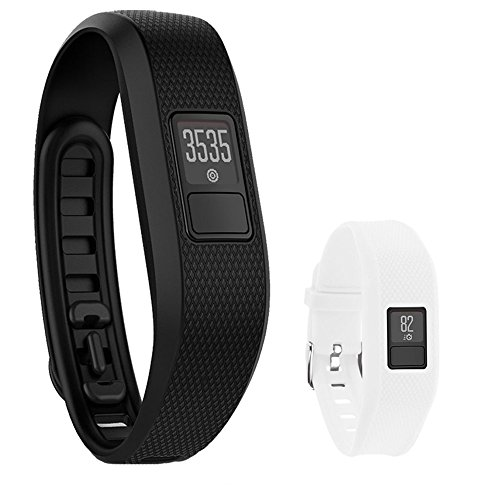 Garmin Vivofit 3 Activity Tracker Fitness Band XL Fit Black with Extreme Speed Silicone Replacement Wrist Band Strap (White) by Beach Camera