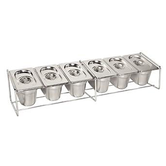 Soporte de acero inoxidable Vogue para cubetas de comida (150 x 680 x 160 mm