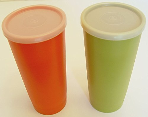 Set of 2 Harvest Green and Orange Tupperware Ice Tea Tumblers 16 Ounces with Lids