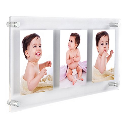 Panel Wall Acrylic Frame - NIUBEE Clear Acrylic Wall Mount Floating Frameless Picture Frame Up to 13x28 Photo for Poster Photography Frames-Double Panel