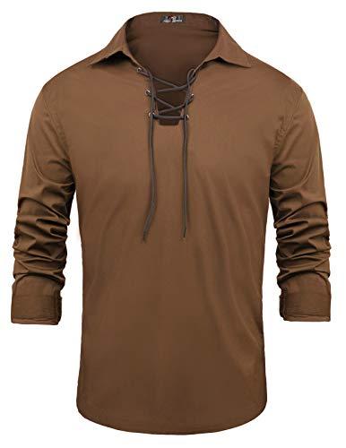 Medieval Costumes Houston - Men's Cotton Ghillie Kilt Lace-up Shirt