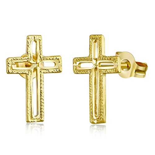 14k Yellow Gold Cross Stud Earrings (6 X 11mm) ()