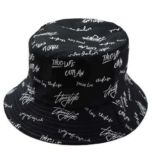 LEIDAI Cute Bucket Hat Beach Fisherman Hats for Women, Reversible Double-Side-Wear (Cotton Blalk)