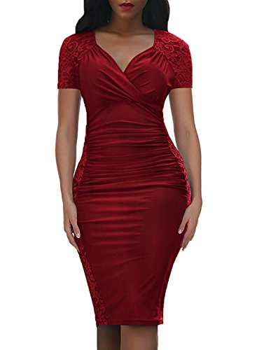 Domy Women's Formal Bodycon Dress Floral Lace Panel Ruched Sheath Dress (L, Burgundy, Short ()