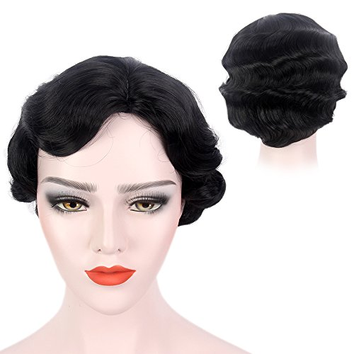 Finger Wave Wig Black Bob Short Curly for Women Cosplay Party Costume Hairpiece 15