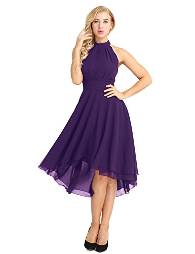 (FEESHOW Women Sleeveless Halter Chiffon Asymmetrical High Low Homecoming Party Bridesmaid Dress Purple 4)
