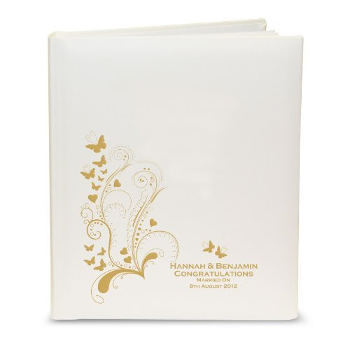 Personalised Gold Butterfly Swirl Traditional Photo Album Wedding Gift by C.P.M.