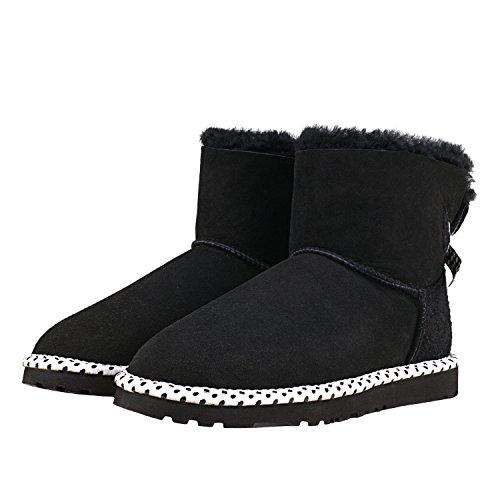 y Oveja D5079 Negro de Lana Mujer con Invierno Botas Shenduo de Antideslizante para Nieve Interno Piel Zapatos Suela qPawTn0