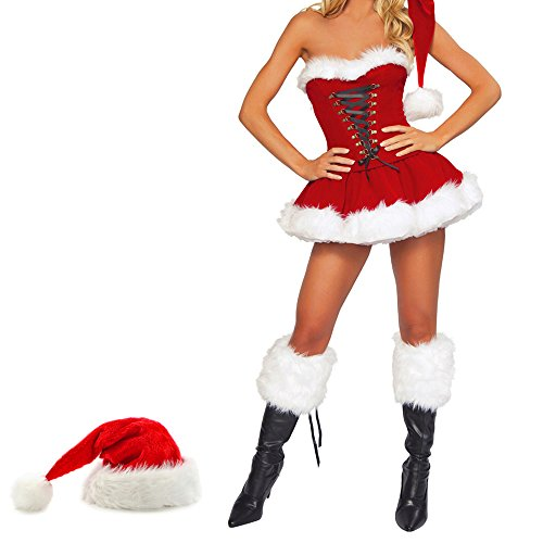 [Hootech Women's Sexy Christmas Costume Miss Santa Outfit] (Miss Clause Outfit)