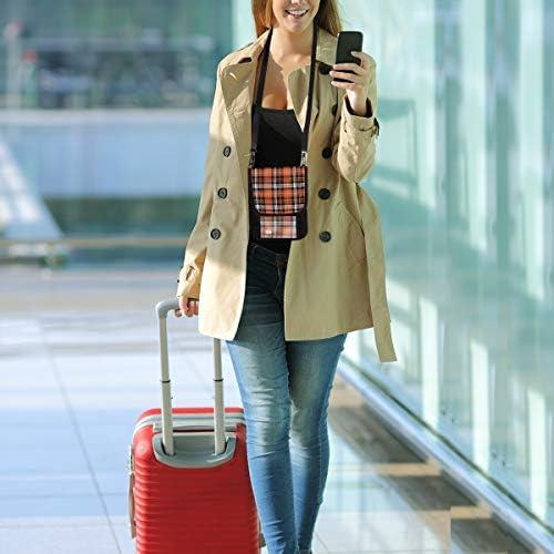 トラベルウォレット ミニ ネックポーチトラベルポーチ ポータブル 格子縞 オレンジ 小さな財布 斜めのパッケージ 首ひも調節可能 ネックポーチ スキミング防止 男女兼用 トラベルポーチ カードケース