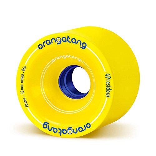 (Orangatang 4 President 70 mm 86a Cruising Longboard Skateboard Wheels (Yellow, Set of)