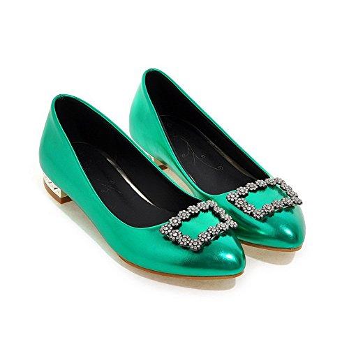 AllhqFashion Damen Spitz Zehe Niedriger Absatz Weiches Material Rein Ziehen auf Pumps Schuhe Grün