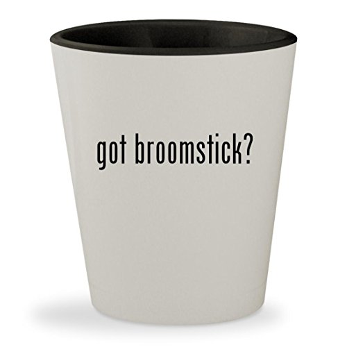 got broomstick? - White Outer & Black Inner Ceramic 1.5oz Shot (Harry Potter Firebolt Broomstick)